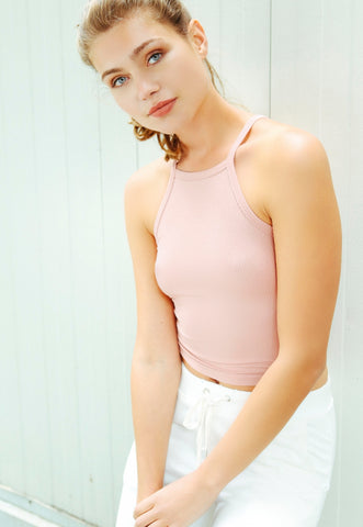 Canyon Halter Crop Top in Light Pink