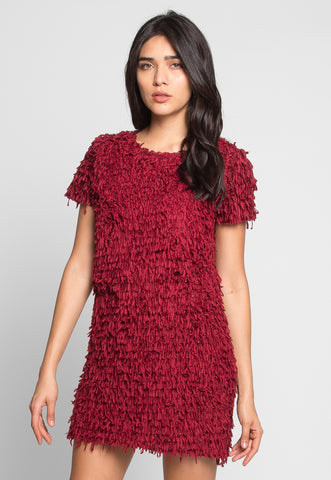Roaring Fringe Dress in Wine