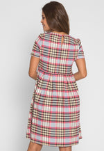Babydoll Madras Plaid Midi Dress