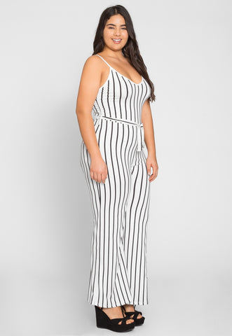 Plus Size Dazzling Stripe Jumpsuit in White