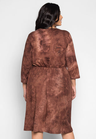 Plus Size Crush on You Tie Dye Wrap Dress in Brown