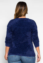 Plus Size Found Love Fuzzy Knit Sweater in Navy