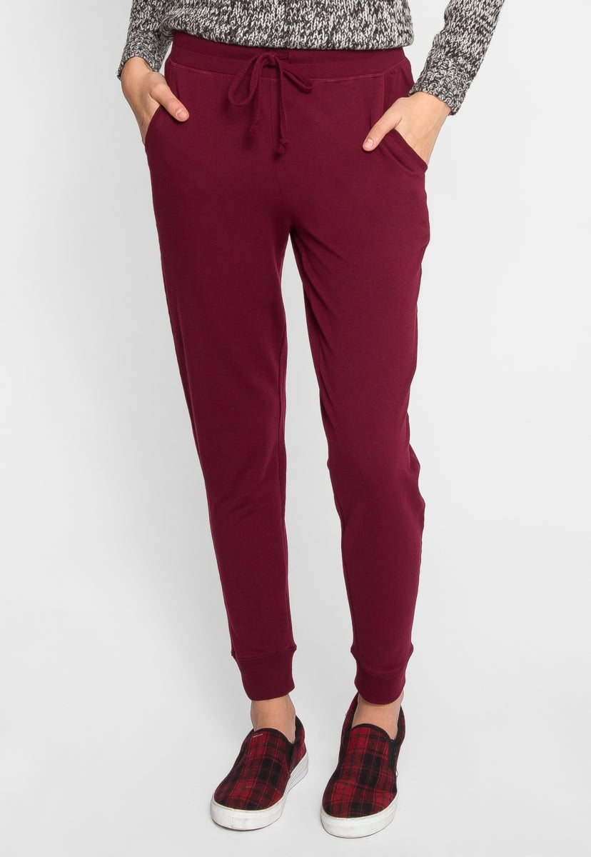The Basics Lounge Joggers in Burgundy - Pants - Wetseal
