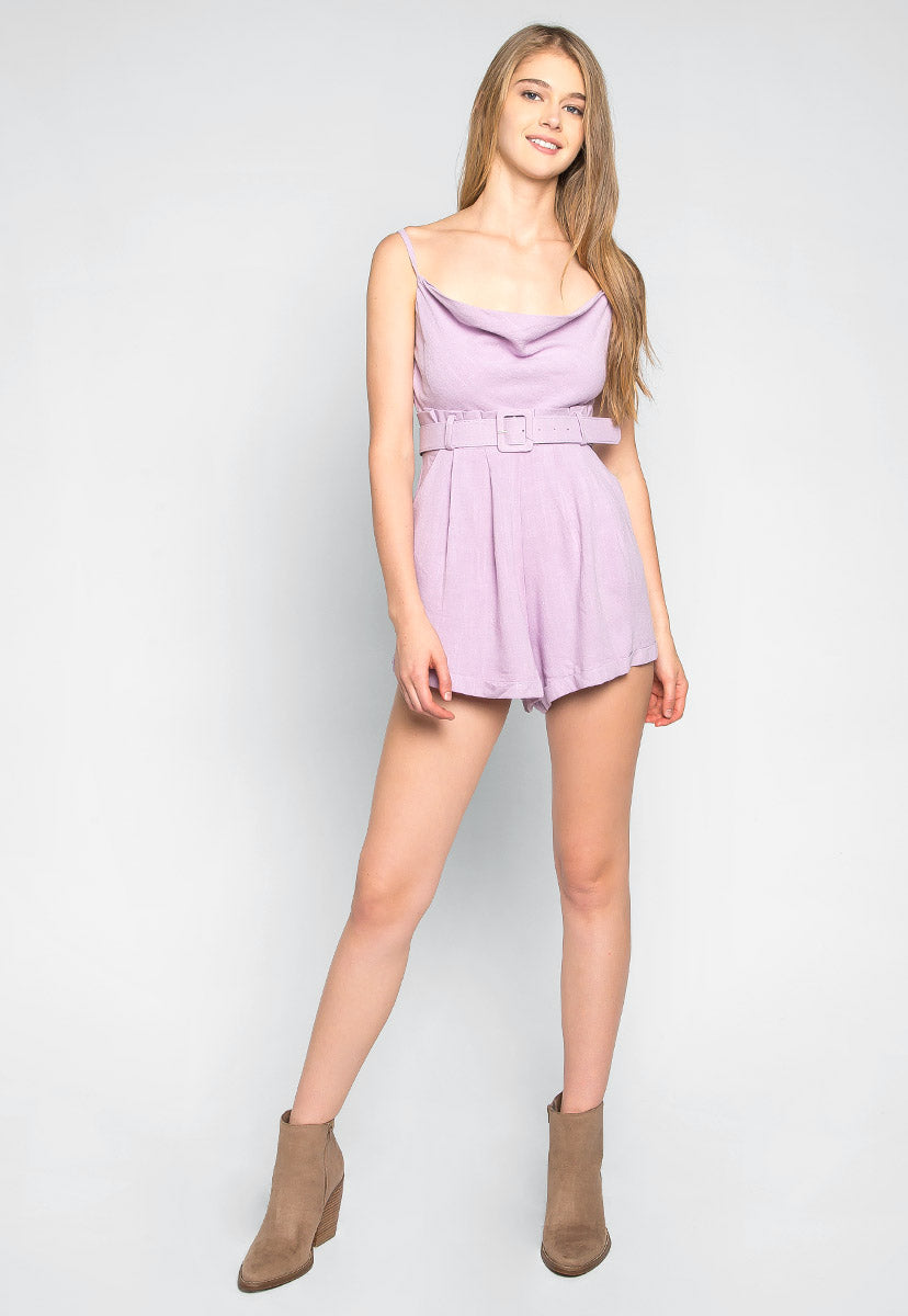 Fly Away Cowl Neck Belted Romper - Rompers & Jumpsuits - Wetseal