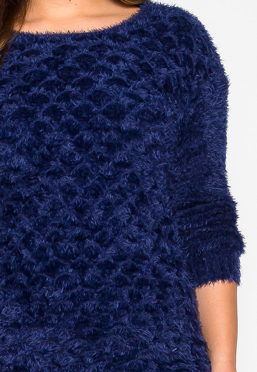 Plus Size Found Love Fuzzy Knit Sweater in Navy - Plus Outerwear - Wetseal