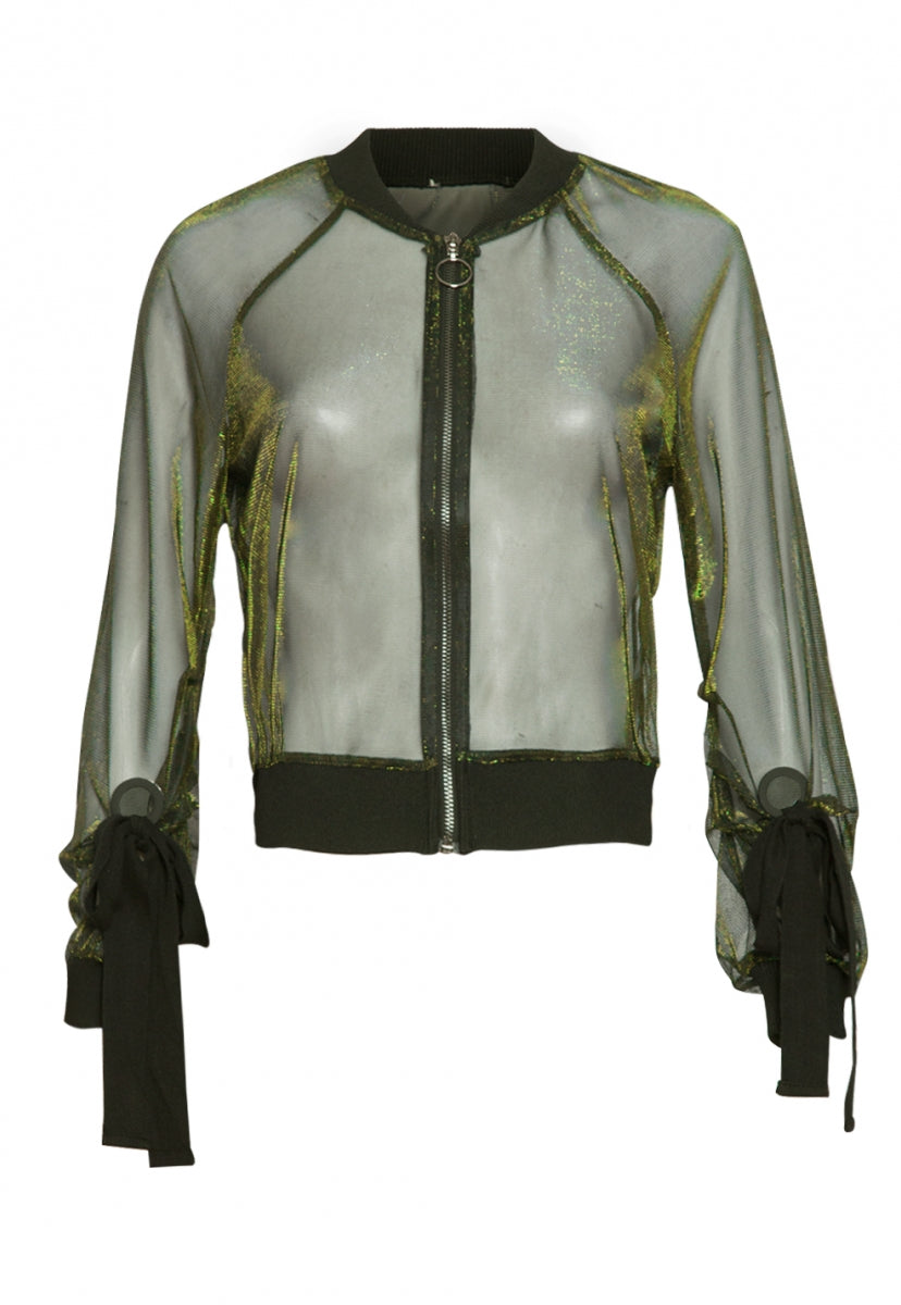 Aurora Iridescent Sheer Jacket in Olive - Jackets & Coats - Wetseal