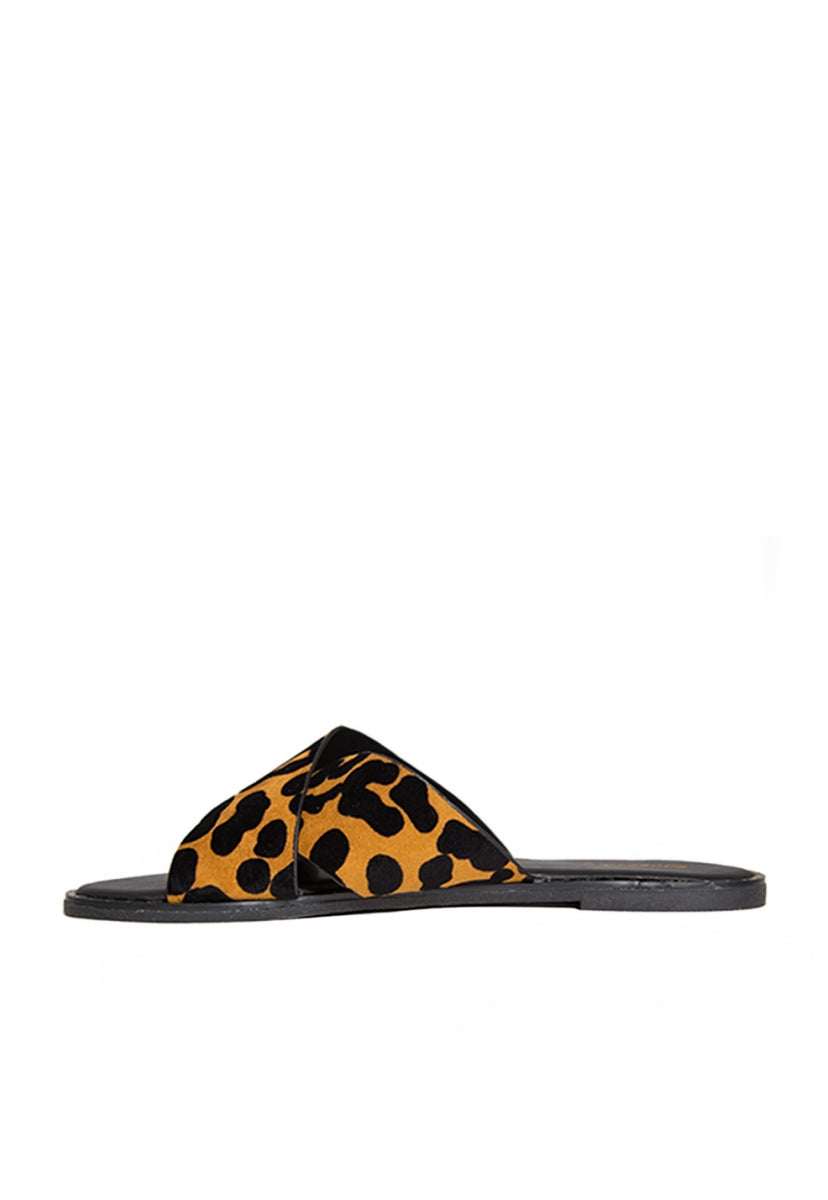 Miranda Leopard Slider Sandals - Shoes - Wetseal