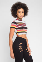 Retro Spike Stripe Crop Top