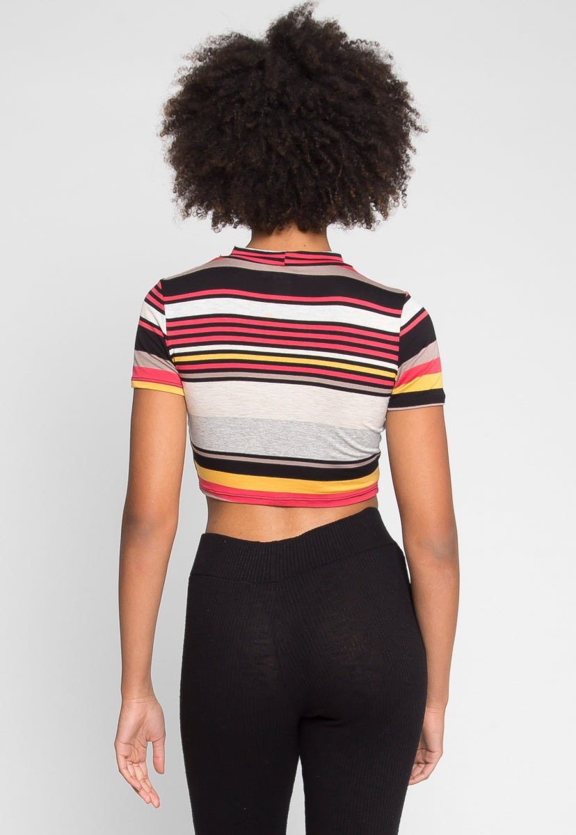 Retro Spike Stripe Crop Top - Crop Tops - Wetseal