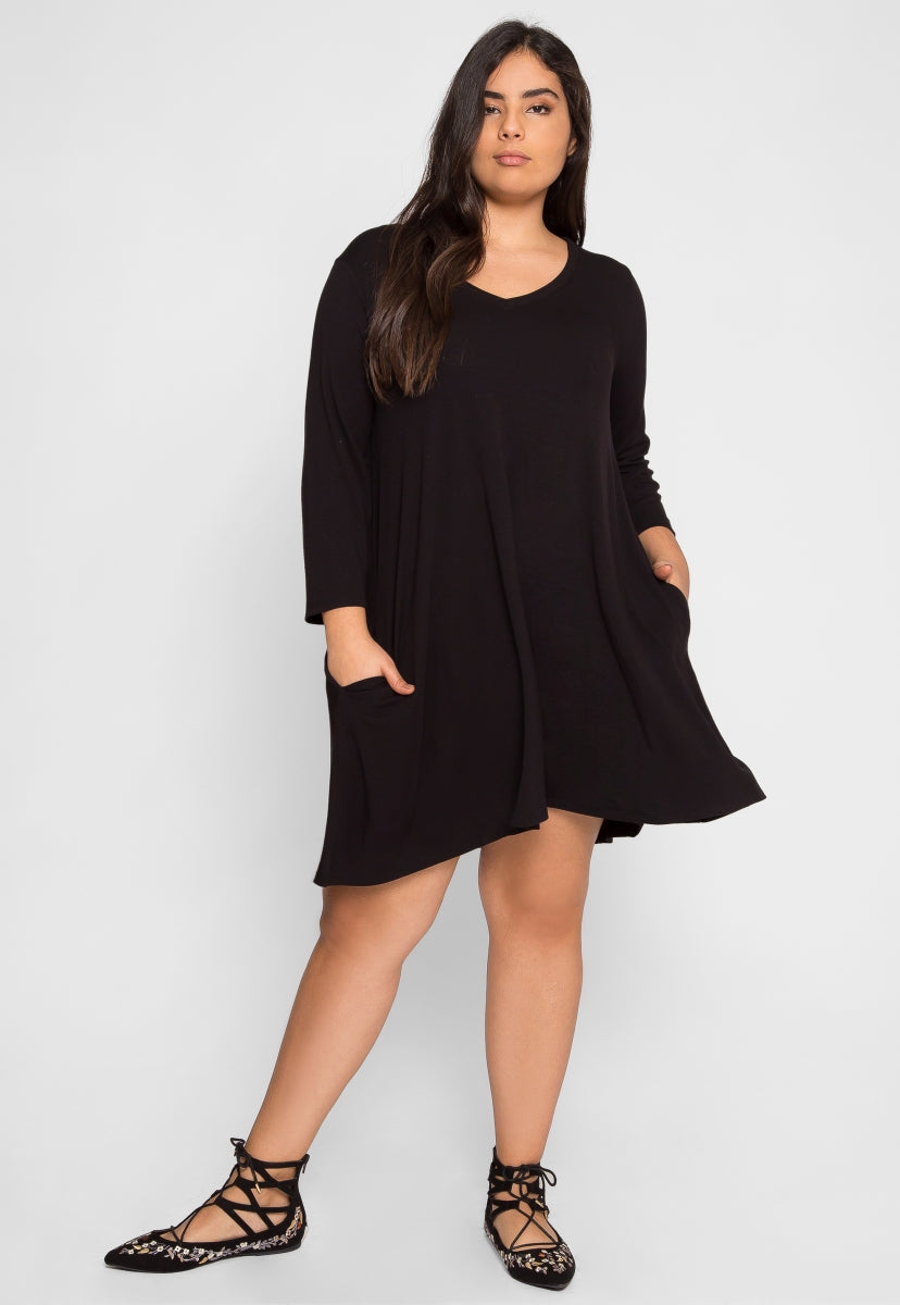 Plus Size Mae Tunic Dress in Black - Plus Dresses - Wetseal