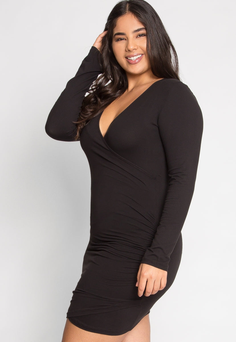 Plus Size Anthem Ruched Bodycon Dress in Black