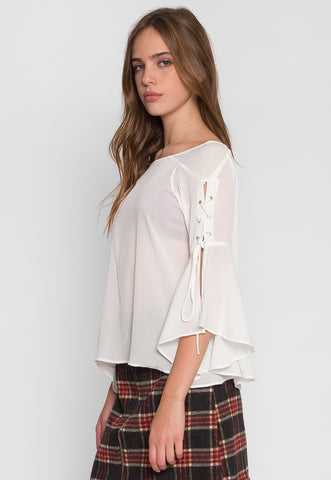 High Rise Flare Sleeve Top in White