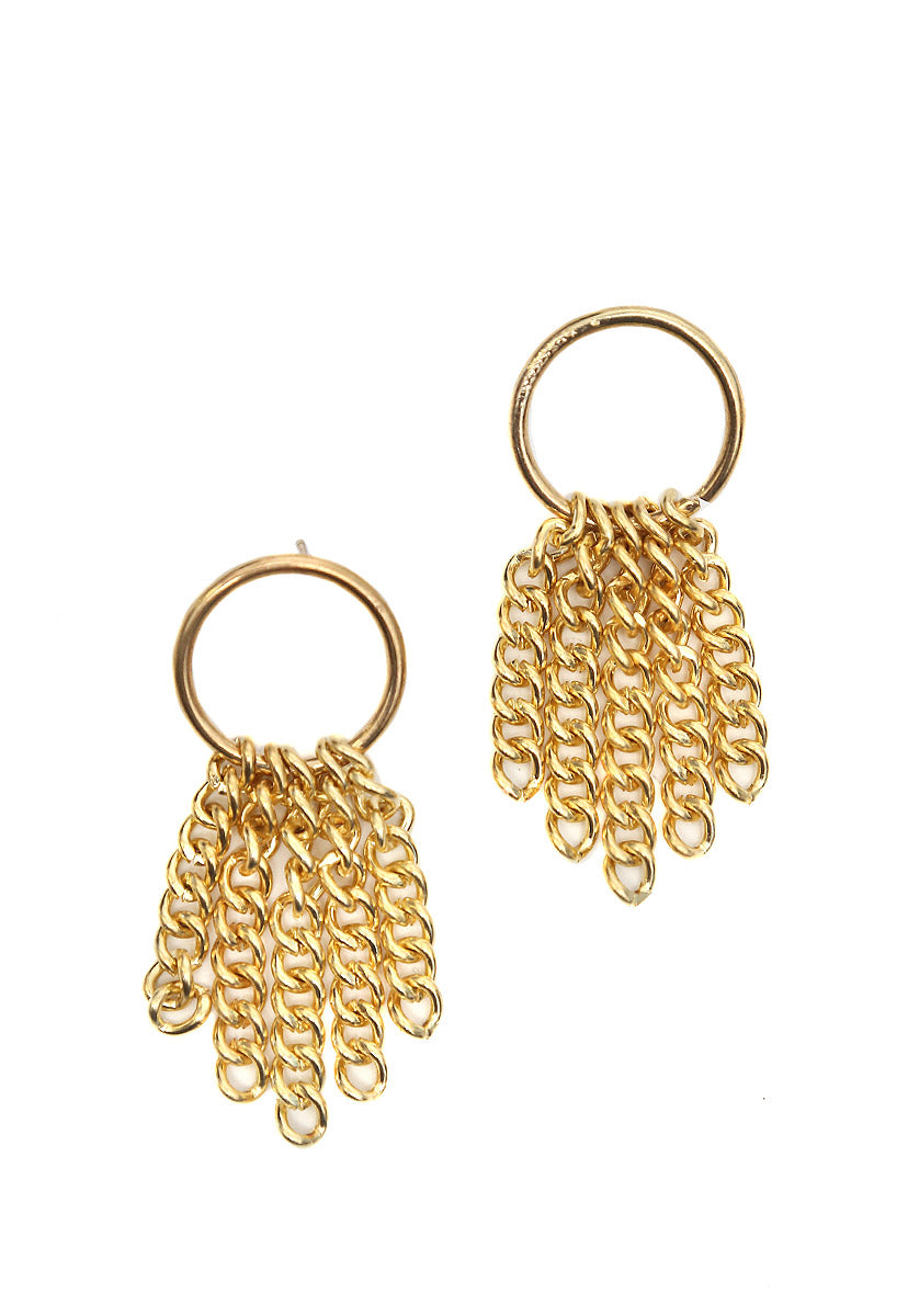 Bling Chain Earrings in Gold - Jewelry - Wetseal