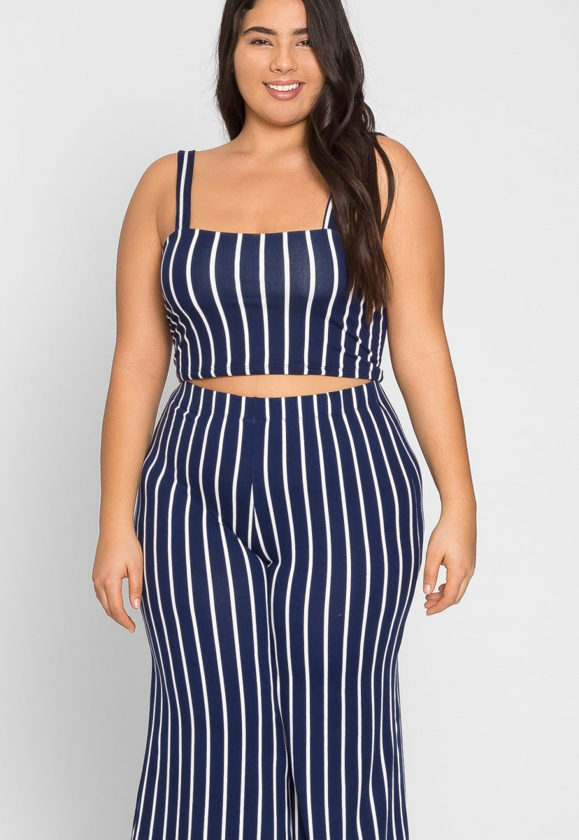 Plus Size Rivers Stripe Culotte Set in Navy - Plus Dresses - Wetseal