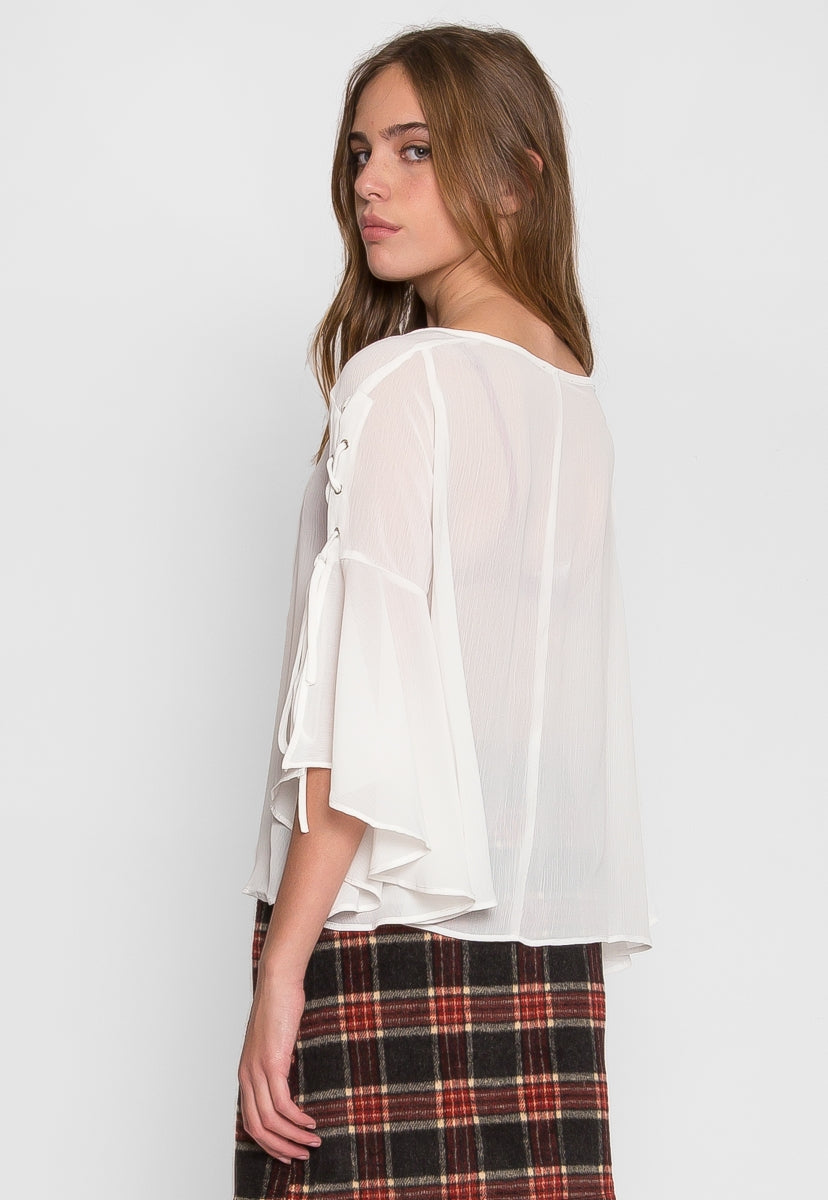 High Rise Flare Sleeve Top in White - Shirts & Blouses - Wetseal