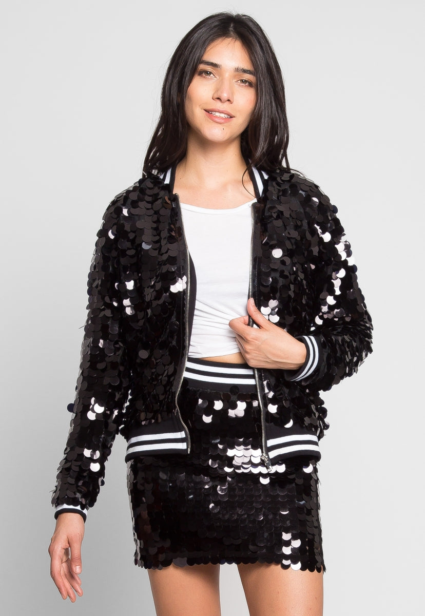 Cheers Sequin Bomber Jacket - Jackets & Coats - Wetseal