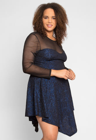 Plus Size Mysterious Mesh Fit and Flare Dress