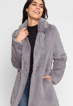 Glam Faux Fur Coat in Gray
