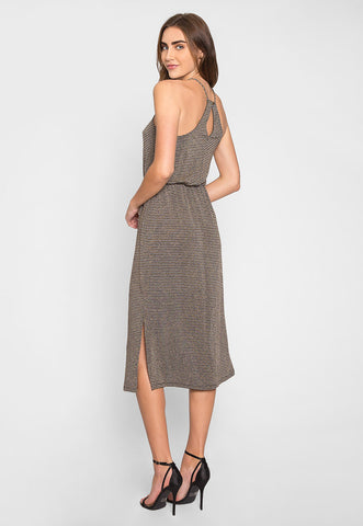 Gina Metallic Striped Maxi Dress