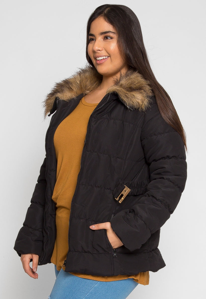 Plus Size Luxurious Faux Fur Trim Jacket in Black - Plus Outerwear - Wetseal