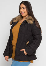 Plus Size Luxurious Faux Fur Trim Jacket in Black