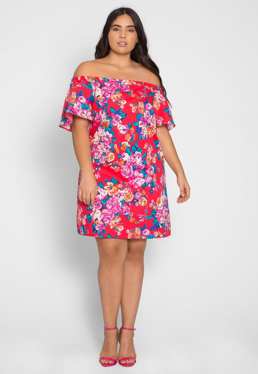 Plus Size Blooms Floral Off Shoulder Dress