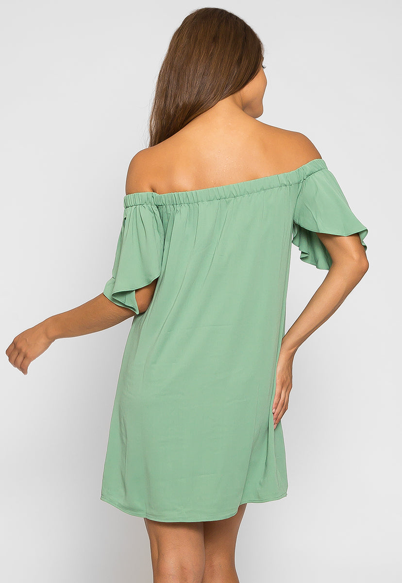 Sage Off Shoulder Mini Dress - Dresses - Wetseal
