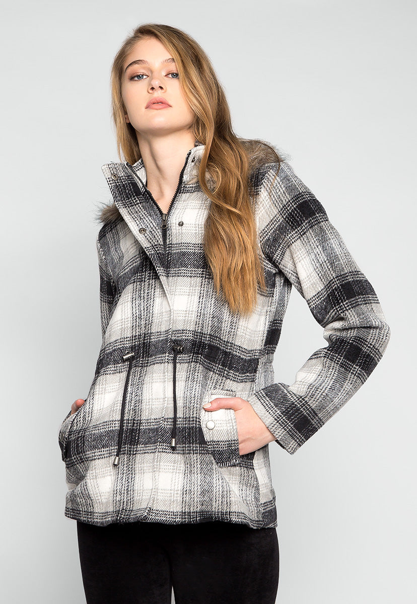 Long Way Home Hooded Plaid Coat - Jackets & Coats - Wetseal