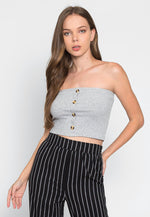 Break Button Front Tube Top in Gray