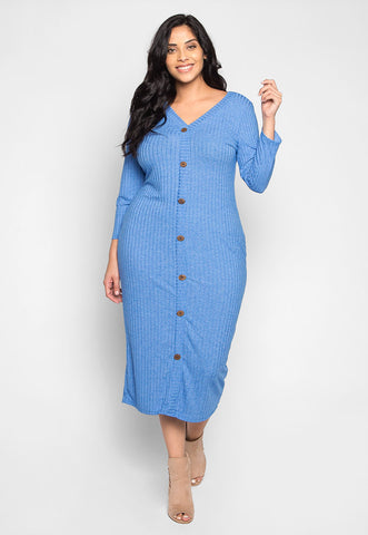 Plus Size Pretty Girls Buttoned Dress in Blue