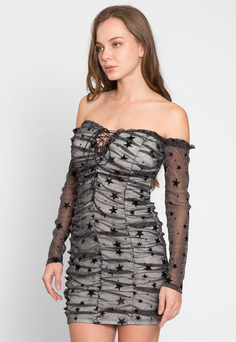 Showstopper Glitter Ruched Dress - Dresses - Wetseal