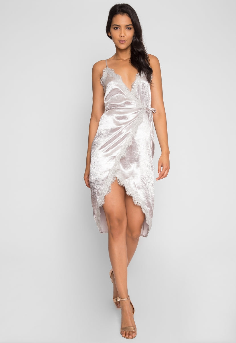 Mercury Satin Wrap Dress in Gray - Dresses - Wetseal