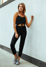 Hot Alert Cut Out Jumpsuit in Black