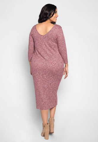 Plus Size Pretty Girls Buttoned Dress in Burgundy