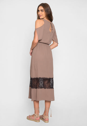 Pathway Cold Shoulder Maxi Dress in Mocha