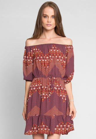 Amber Off Shoulder Patchwork Dress