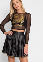 Prowling Mesh Tiger Print Top in Black