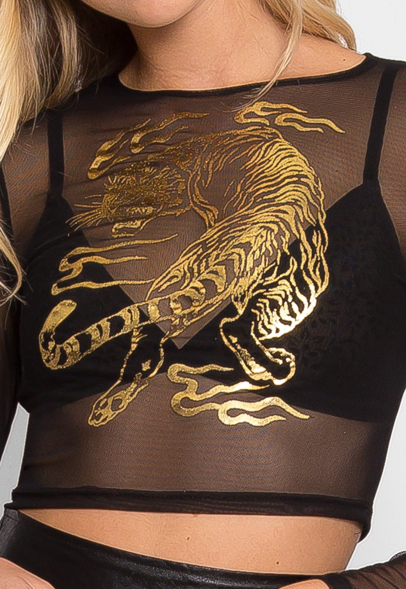 Prowling Mesh Tiger Print Top in Black - Crop Tops - Wetseal