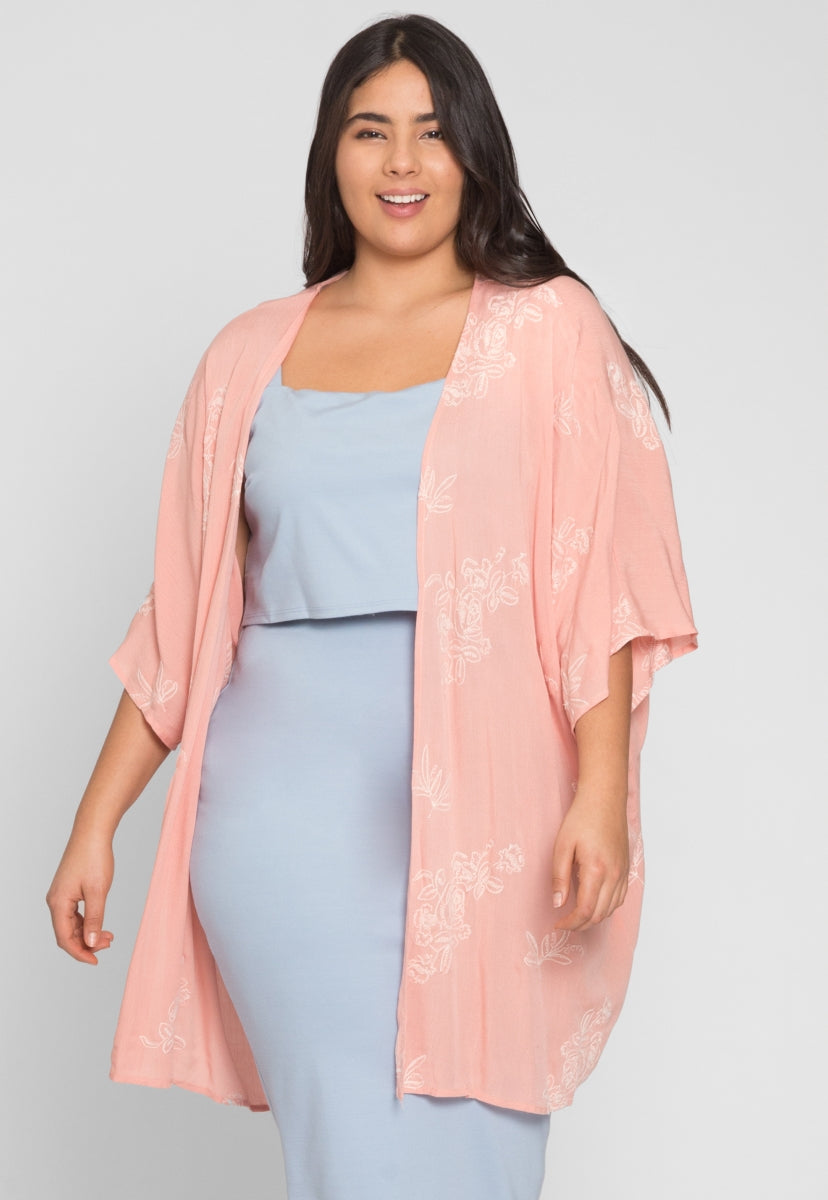 Plus Size Beach Embroidered Kimono - Plus Outerwear - Wetseal