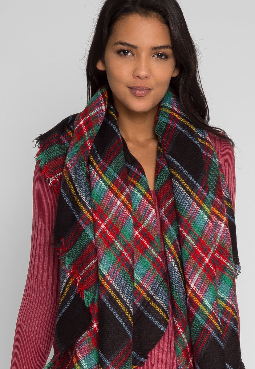 Slumber Plaid Blanket Scarf in Red - Scarves & Gloves - Wetseal