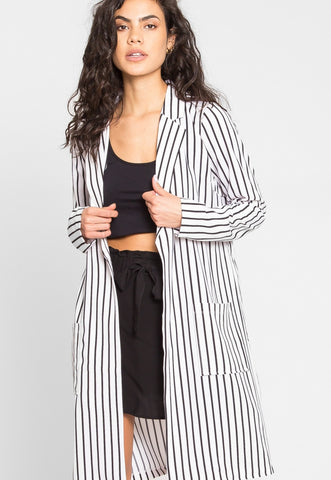 Over You Stripe Longline Blazer in White