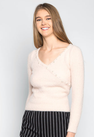 Baby Doll Fuzzy Crop Sweater in Light Pink