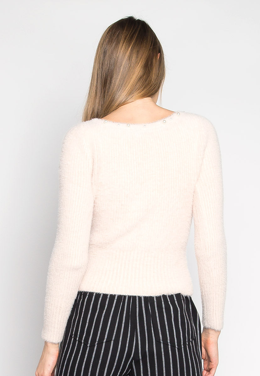 Baby Doll Fuzzy Crop Sweater in Light Pink - Sweaters & Sweatshirts - Wetseal
