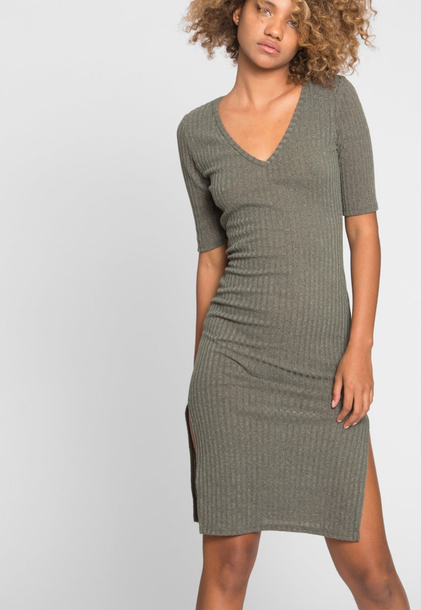 Babe Rib Knit Midi Dress - Dresses - Wetseal