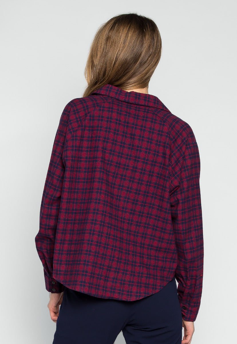 Red Maple Chest Pocket Plaid Shirt - Shirts & Blouses - Wetseal