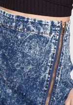 Exile Acid Wash Fitted Denim Skirt