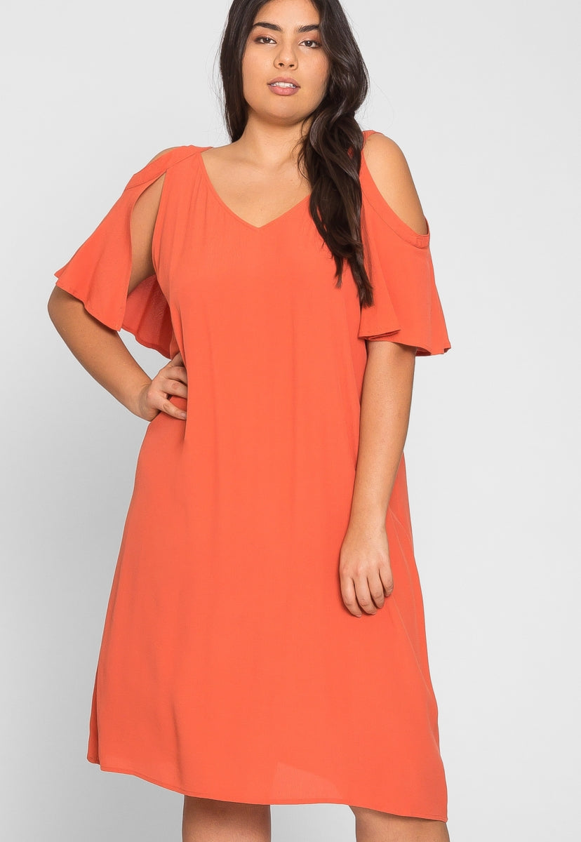 Plus Size Jubilant Gauze Dress in Coral