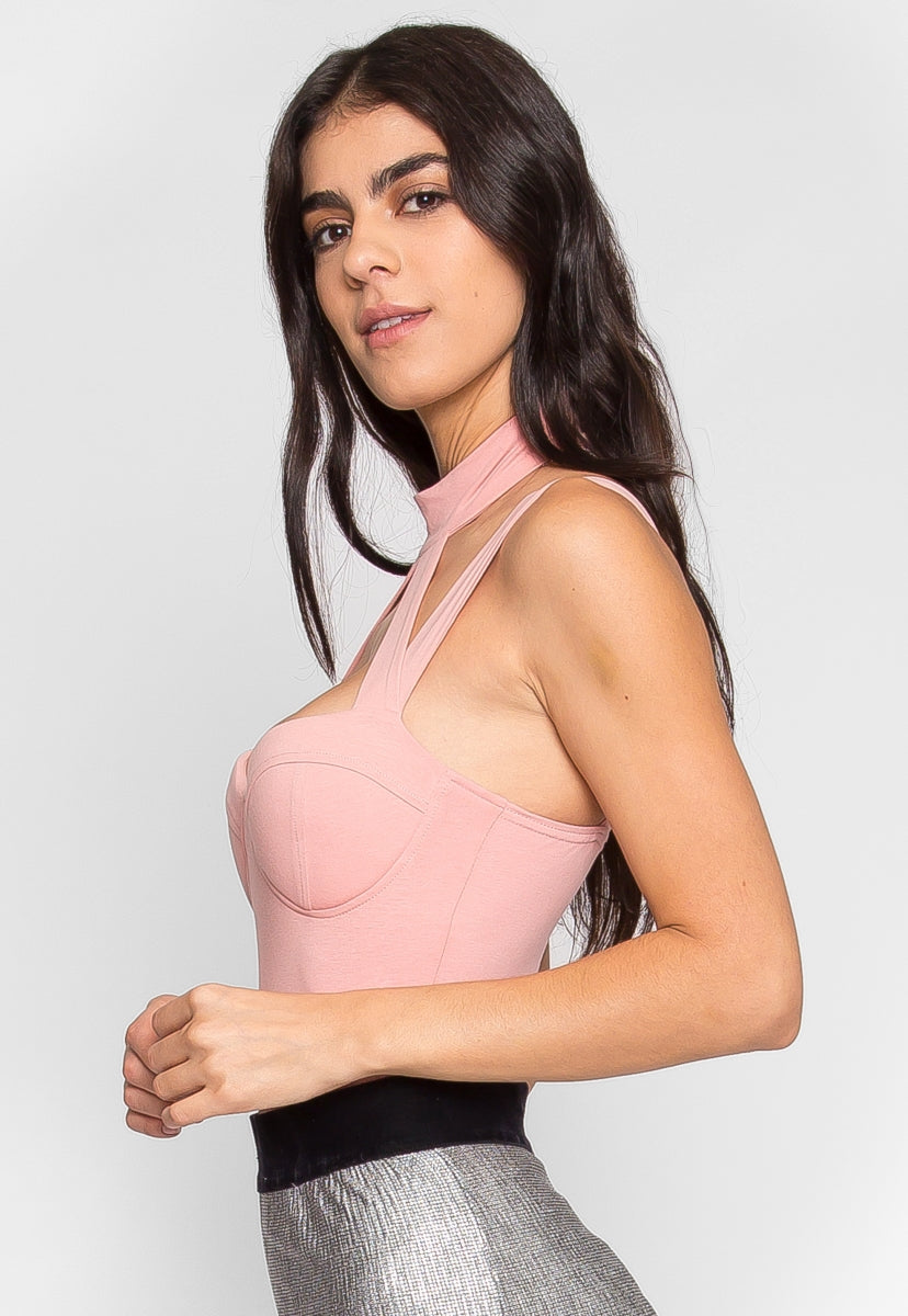Line Up Padded Bodysuit in Pink - Bodysuits - Wetseal