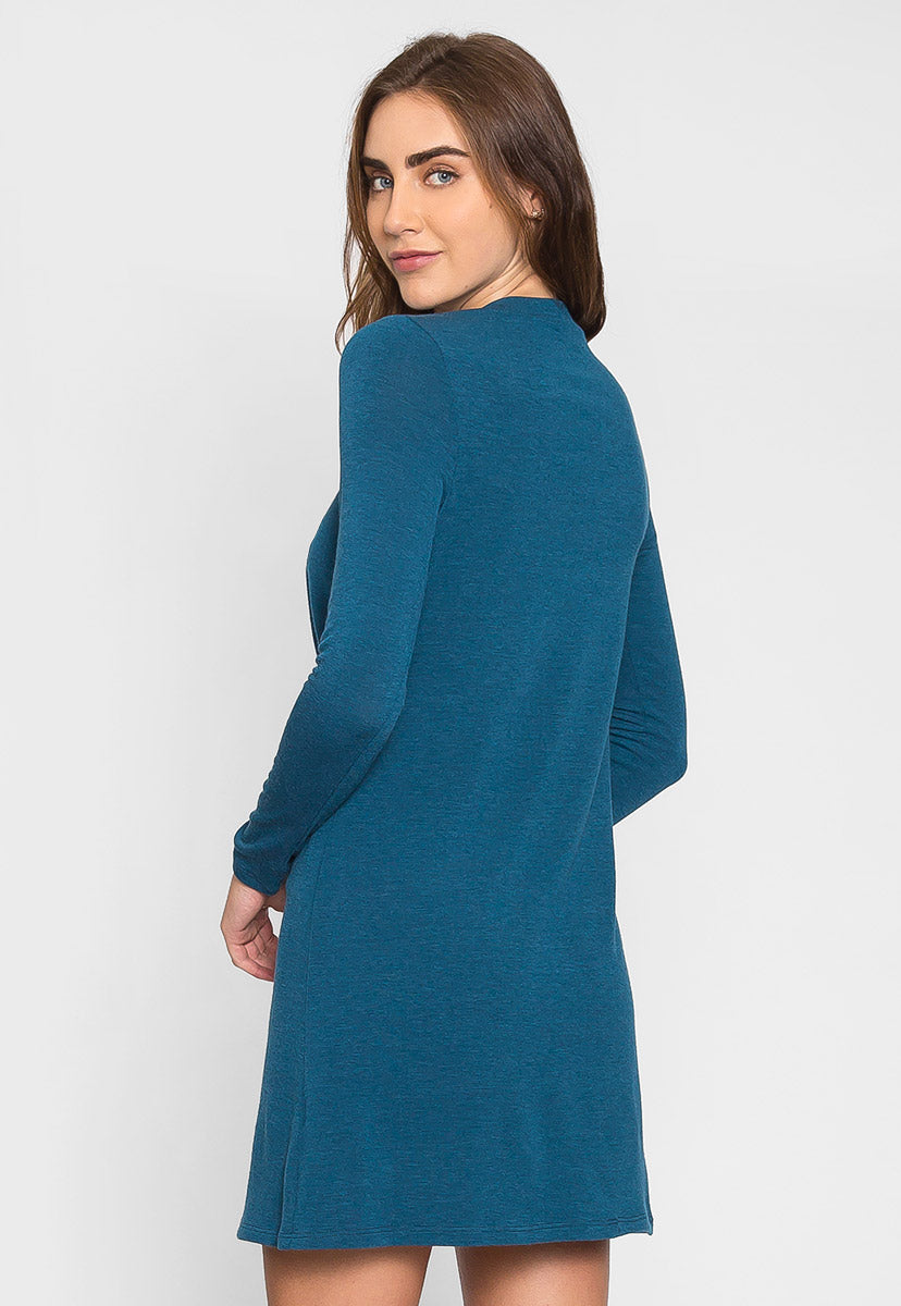 House Warming Surplice Dress in Teal - Dresses - Wetseal
