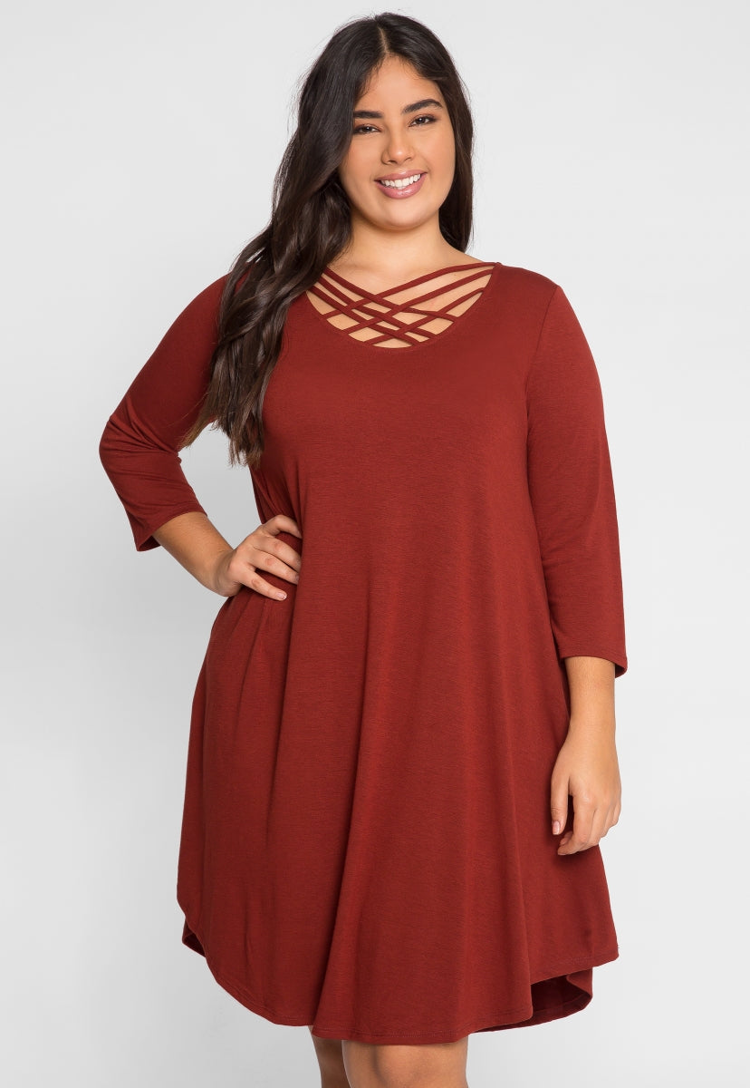 Plus Size Airwaves Lattice Dress in Brick